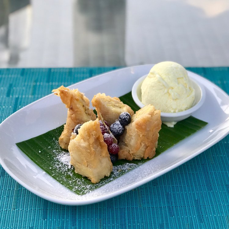 Banana Fritters With Vanilla Ice Cream Holiday Inn Resort Kandooma Maldives